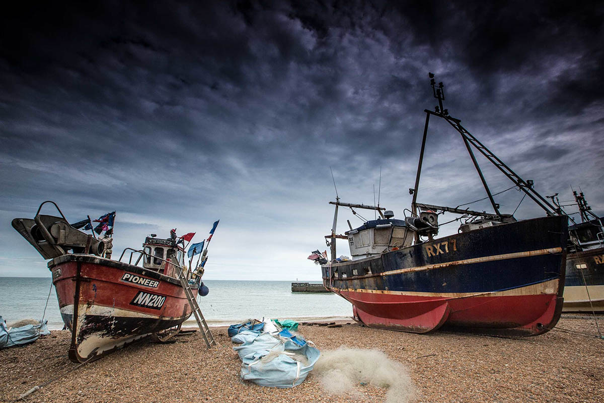 Boats on the beach in Hastings