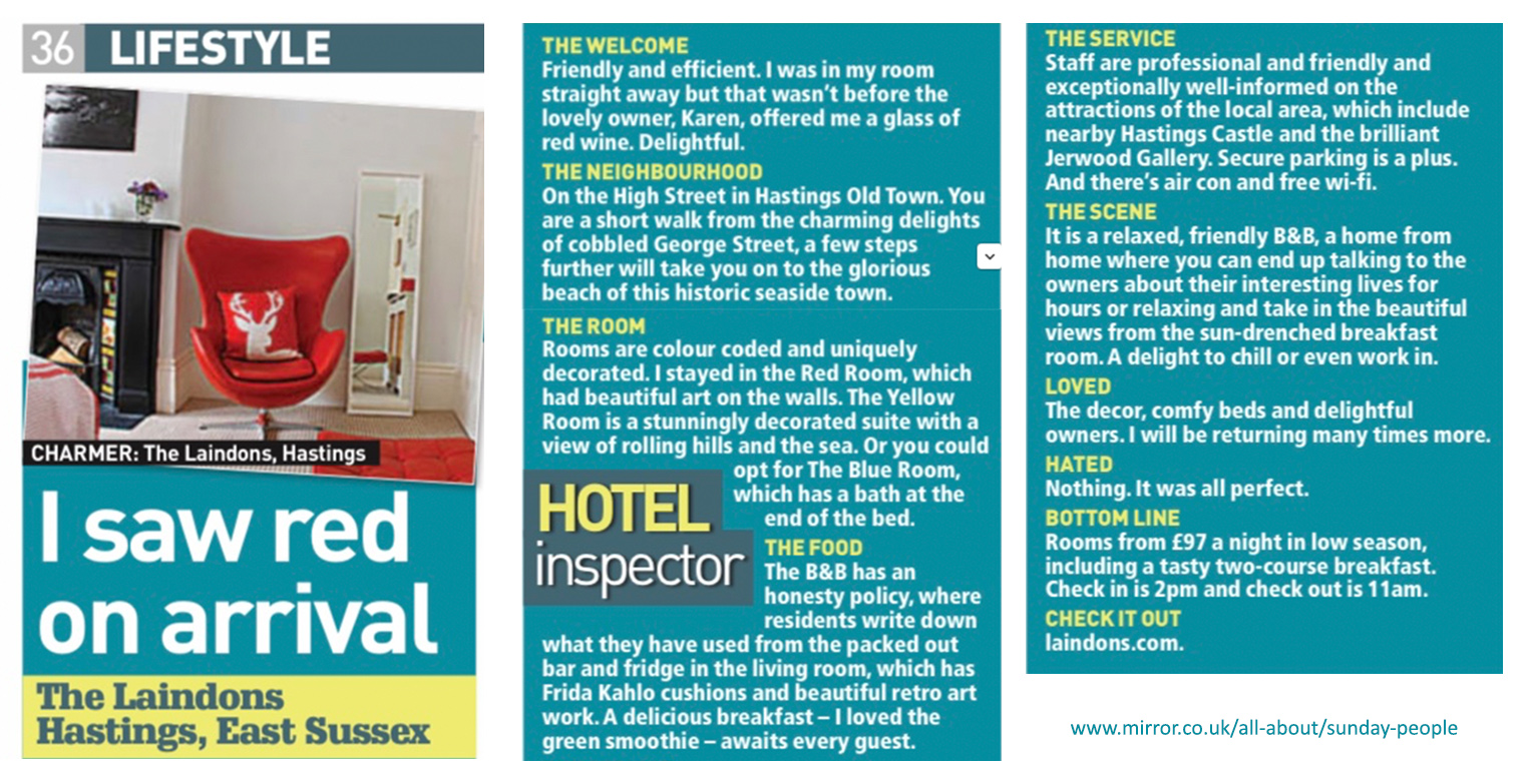 The Sunday People - Lifestyle Article - Feb 2019 - Boutique guesthouse Hastings