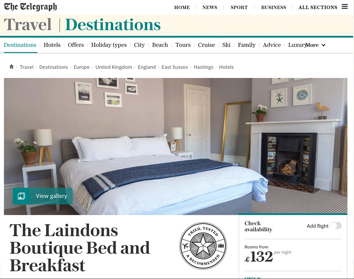 Telegraph - Travel Destinations - May 2019 - Boutique guesthouse Hastings